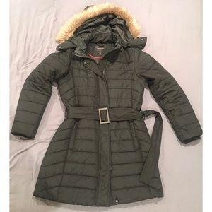 Banana Republic Puffer Coat w/ Fur Hood